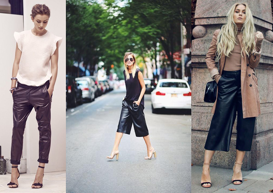 outfit grid leather trousers leather culottes womens work styles