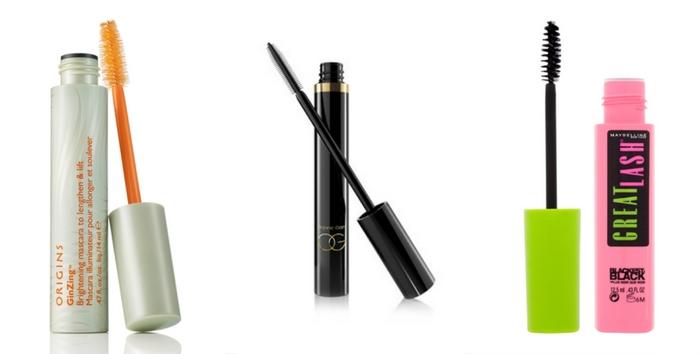 Product grid for healthy eyelashes: Origins Brightening mascara, Organic Glam Mascara & Maybelline New York hypoallergenic Mascara