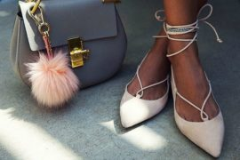 Nude ballet flats with tie up laces