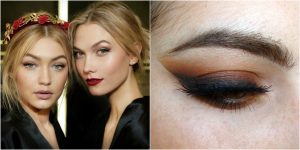 Supermodels Gigi Hadid and Karlie Kloss with dark copper eye shadows