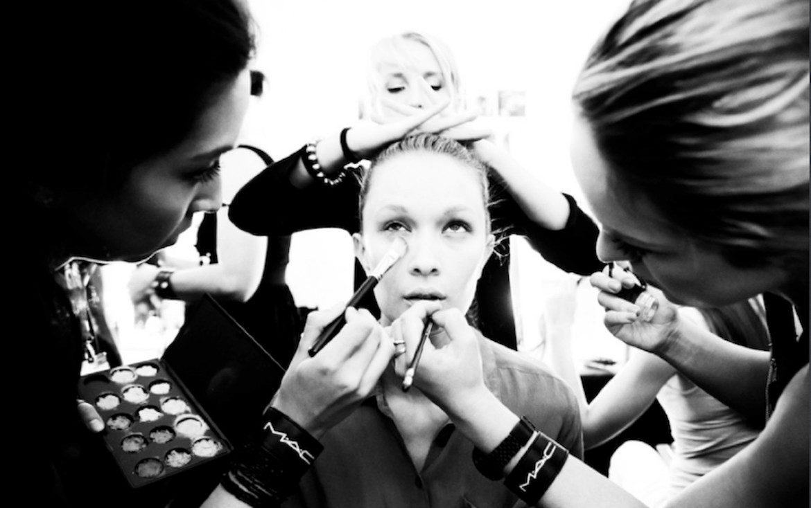 Backstage runway make up squad