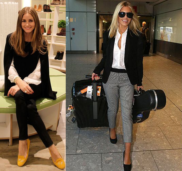 outfit grid celeb infuencers olivia palermo mollie king white shirt black pants