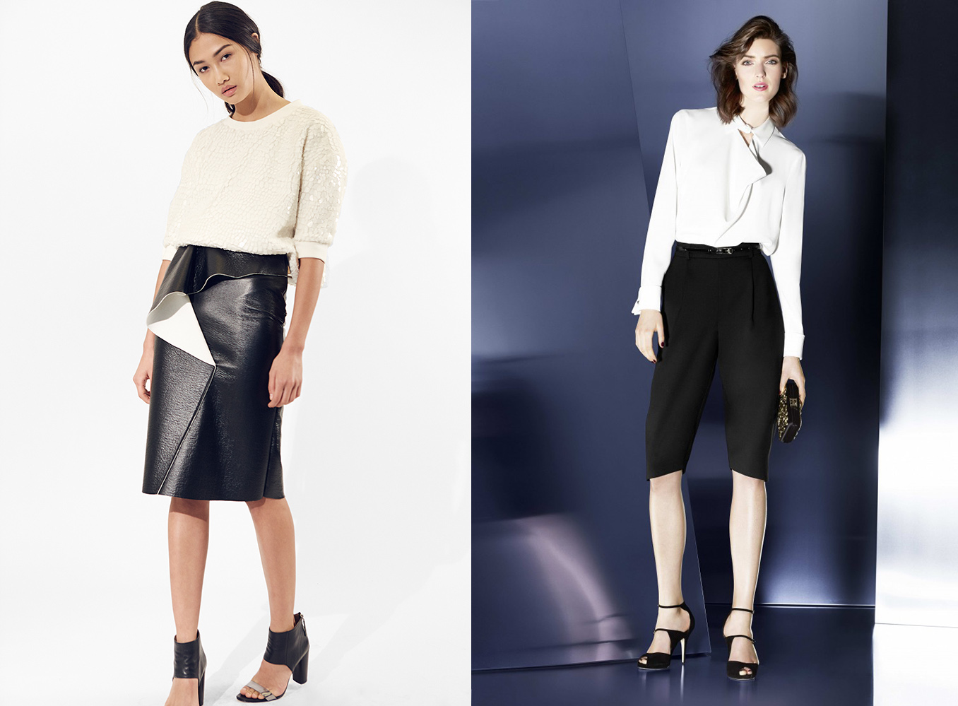 outfit grid womens black pants white shirts alternative shorts skirts