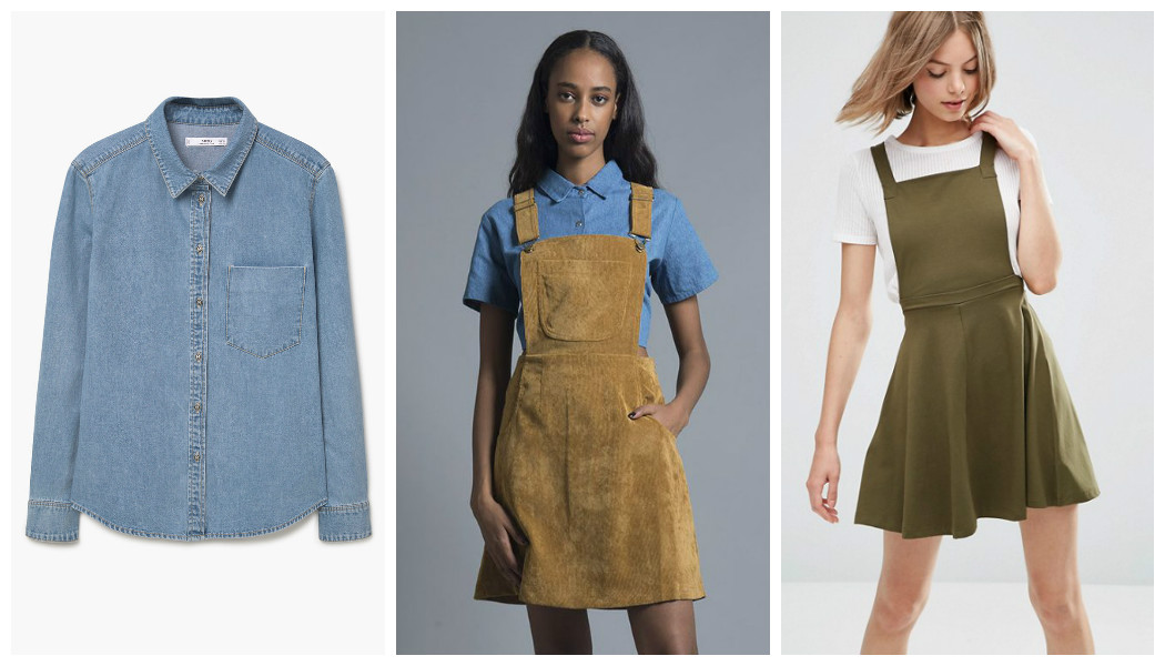 denim shirt dress pinafore