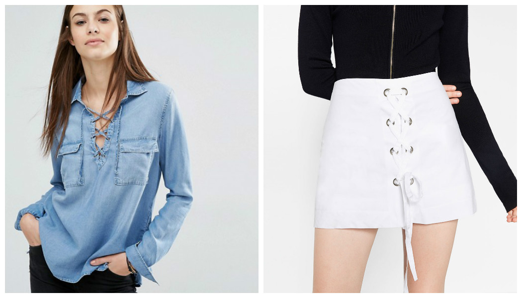 denim shirt white skirt