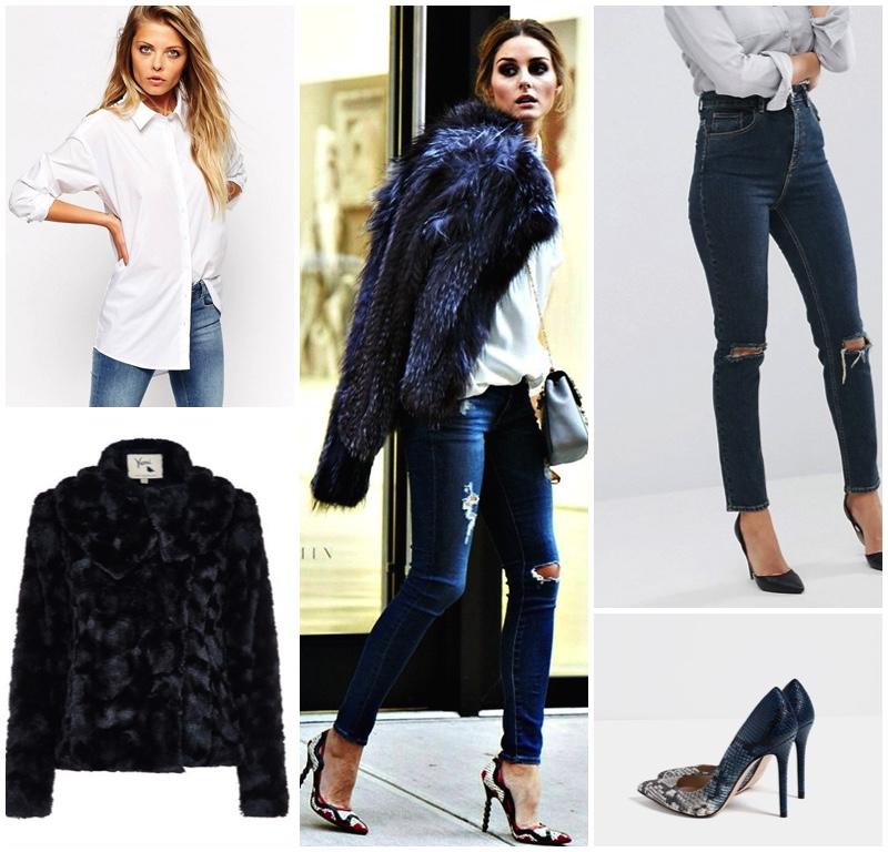 olivia-palmero-skinny-jeans-stilettos-fur-jacket-white-shirt