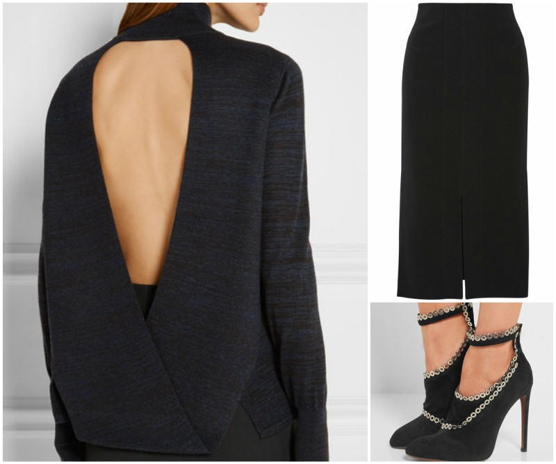 Black backless sweater outfit grid with black shoe boots