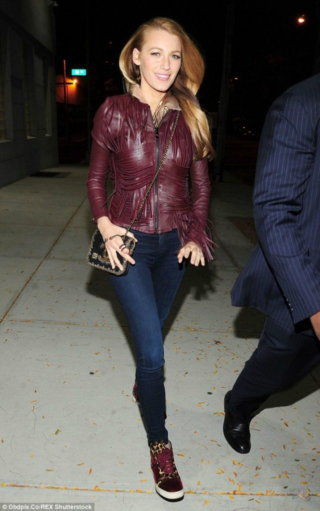 Blake Lively Red leather jacket and red high tops outfit