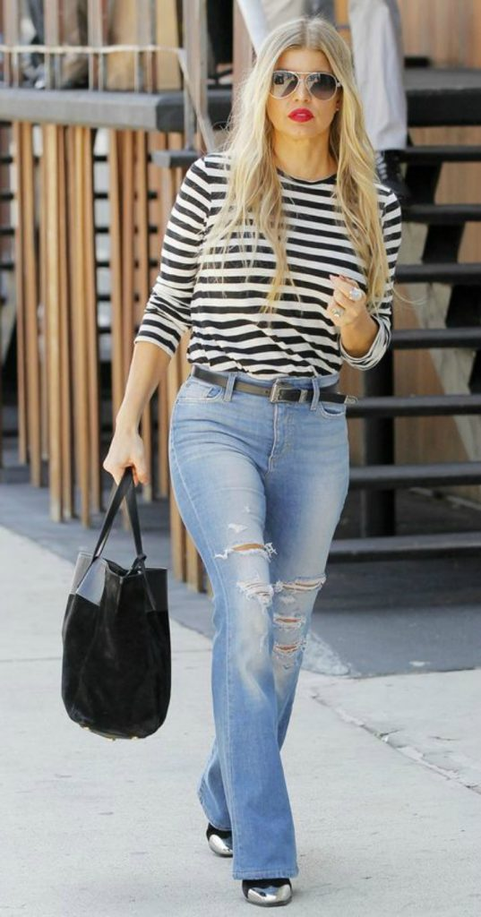 Fergie Black Eyed Peas wearing breton striped top with blue jeans