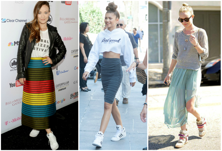 Olivia Wilde and Kate Bosworth high top sneakers and midi skirts