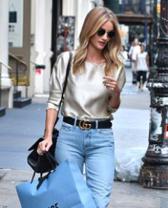 Rosie Huntington-Whitely in mom jeans