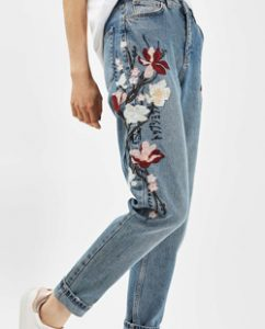 Topshop MOTO Floral Embroidered Mom Jeans