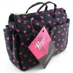 Periea Black With Pink Hearts Handbag Organizer