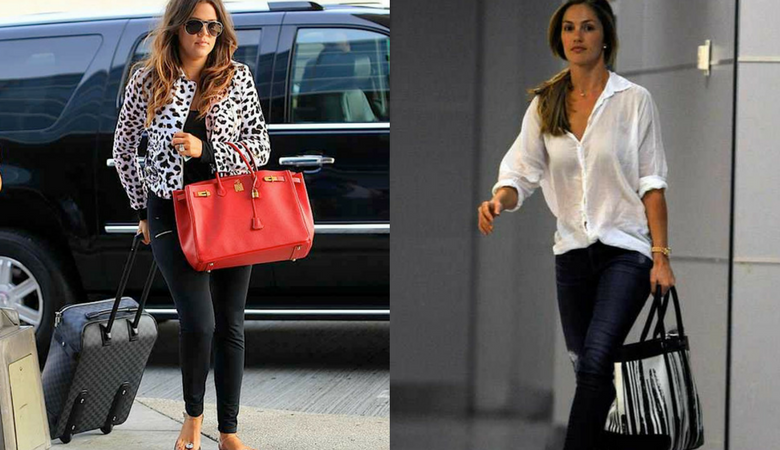 Khloe Kardashian and Minka Kelly carry oversized bags