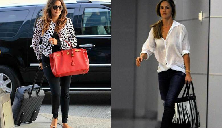 Khloe Kardashian and Minka Kelly carry oversized bags
