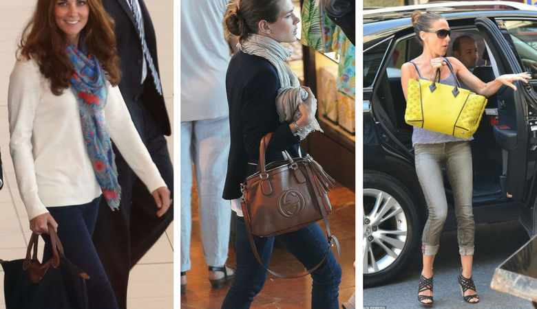 Kate Middleton, Sarah Jessica Parker and Charlotte Casiraghi carry large designer tote bags