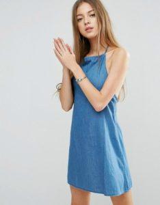 Denim halter neck sundress in mid wash blue