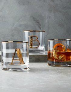 Anthropologie Gilded Monogram Glass