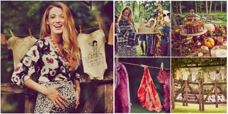 Pregnant Blake Lively In Patterned Body Con Dress With Three Quarter Length  Sleeves. Rustic Baby
