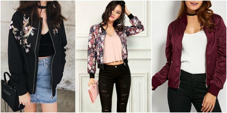 Black bomber jacket with denim skirt, floral bomber jacket with jeans, maroon bomber jacket with black jeans
