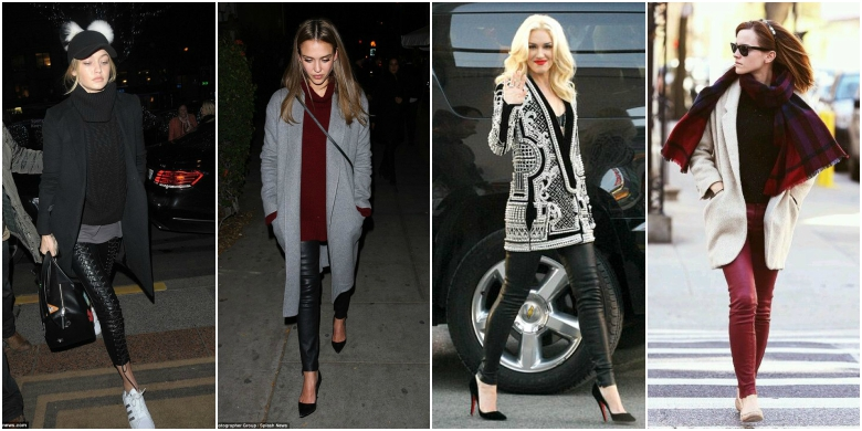 Celebrities in coated jeans looks