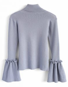Turtleneck top with flared sleeves in dusky blue
