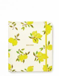 Recipe book with lemon print