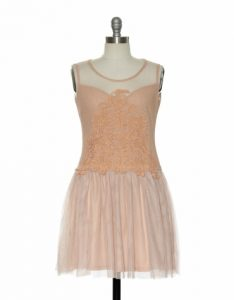 Peach dress with tulle skirt and lace detail