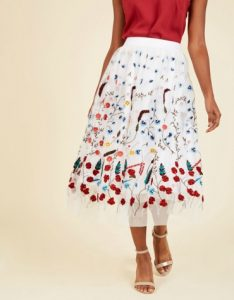 White midi skirt with floral detailing