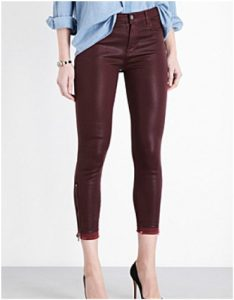 Selfridges J Brand Alana Skinny High-rise Coated Jeans in Claret