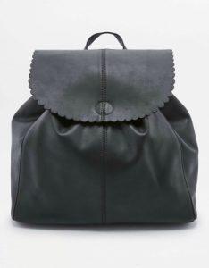 Black scallop-edge backpack