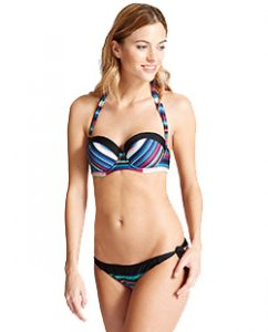 Striped Multiway Bandeau Bikini Top B-E (£16) and Bottoms (£9.50)