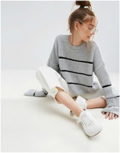 ASOS grey chunky jumper with black stripe