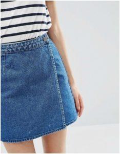 ASOS wrap around blue denim mini skirt