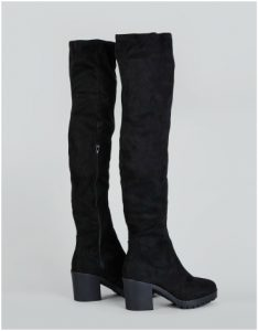 New Look black suedette over the knee chunky boots