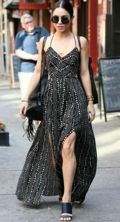 Vanessa Hudgens wearing spotted black maxi dress with wedges