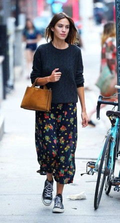 Alexa Chung blue flower maxi dress under sweater with converse