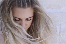 Close up long blonde hair with braids