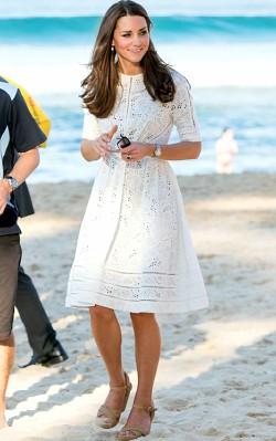 Kate Middleton in white sundress on beach