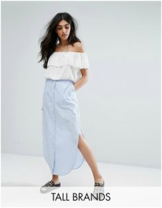 ASOS Noisy May Tall Striped Button Down Maxi Skirt