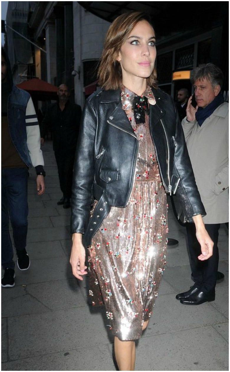 Alexa Chung black leather jacket sequinned midi dress