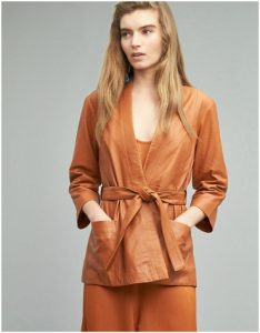 Anthropologie burnt orange belted leather jacket