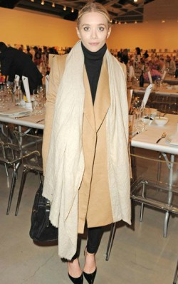 Ashley Olsen light oversized scarf with brown coat