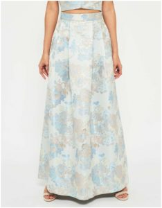 Miss Selfridge Blue Jacquard Maxi Skirt