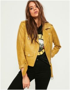 Missguided Faux Yellow Leather Jacket