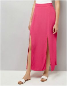 New Look Bright Pink Side Split Maxi