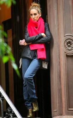 Sarah Jessica Parker at New York doorway wearing pink scarf