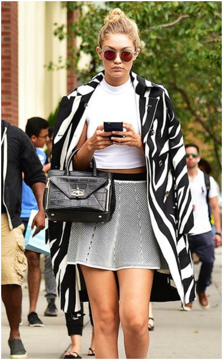 Gigi Hadid Black and White Skater Skirt White Top