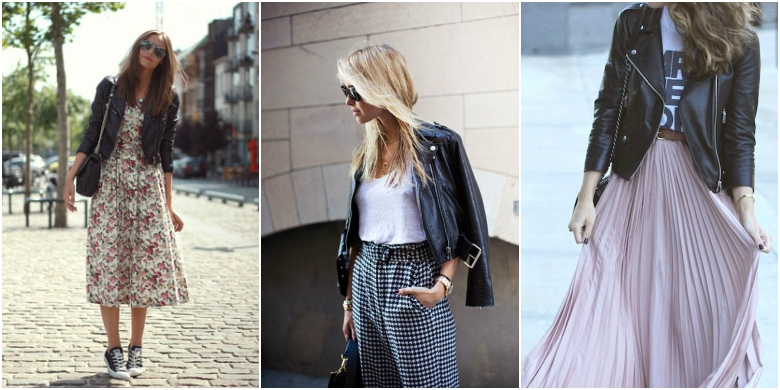 Black leather jacket floral dress white t-shirt gingham trousers pleated maxi skirt