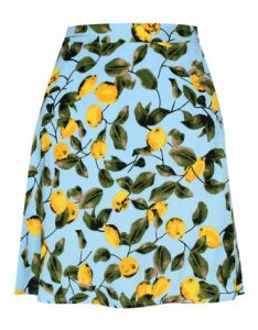 Topshop blue skater skirt lemon print